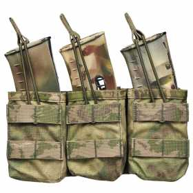 Открытый подсумок Triple MOLLE Open AK 7.62mm Warrior Assault Systems под три магазина, цвет – A-TACS FG